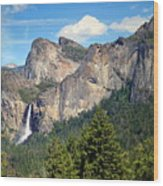 Bridalveil Falls From Tunnel View Wood Print