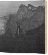 Bridalveil In Black And White Wood Print