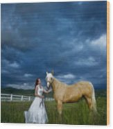 Bride And Horse With Storm Wood Print