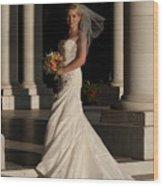 Bride In A Park Wood Print