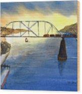 Bridge And Barge Wood Print