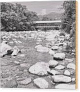 Bridge And Mountain Stream In Black And White Wood Print