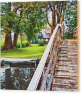 Bridge And River In Old Dutch Village Wood Print