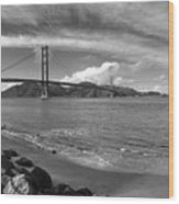 Bridge And Sea Black And White Wood Print