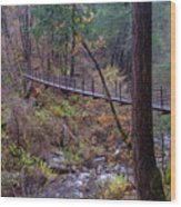 Bridge At Deer Creek Wood Print