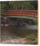 Bridge At Morikami Wood Print