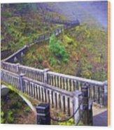 Bridge at Multnomah Falls Wood Print