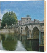 Bridge At Quissac - P4a16005 Wood Print