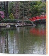 Bridge In Bamboo Garden Wood Print