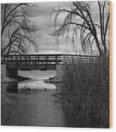 Bridge In Black And White Wood Print