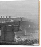 Bridge In Fog Wood Print