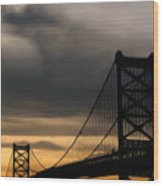 Bridge In Oil Wood Print