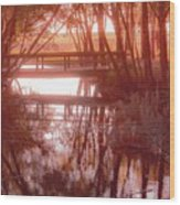 Bridge In Red Wood Print