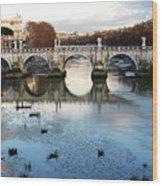 Bridge In Rome Wood Print