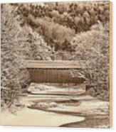 Bridge In Sepia Wood Print