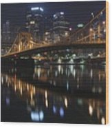 Bridge In The Heart Of Pittsburgh Wood Print