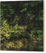 Bridge In The Woods Wood Print