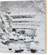 Bridge In Winter Snow Wood Print