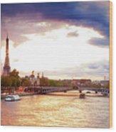 Bridge Of Alexandre IIi And Eiffel At Violet Sunset Wood Print