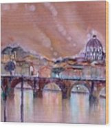 Bridge Of Angels - Rome - Italy Wood Print