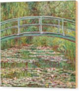 Bridge Over A Pond Of Water Lilies Wood Print