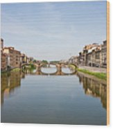 Bridge Over Arno River In Florence Italy Wood Print