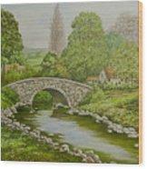 Bridge Over Stream Wood Print