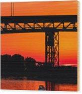 Bridge Over Sunset Wood Print