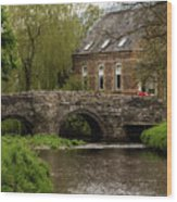 Bridge Over The River Clun Wood Print