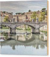 Bridge Over The River Tevere, Rome, Italy Wood Print