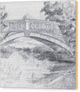 Bridge Over The River White Cart Wood Print