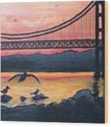 Bridge Silhouette  Wood Print