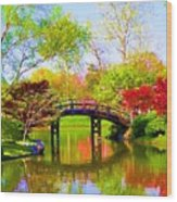 Bridge With Red Bushes In Spring Wood Print