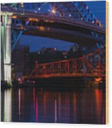 Bridges Red White And Blue Wood Print