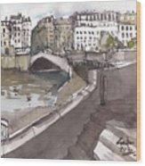 Bridging The Seine Wood Print