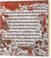 Briers And Thorns With Scripture Wood Print