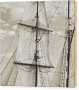 Brigantine Tallship Fritha Sails And Rigging Wood Print