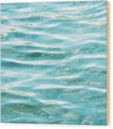 Bright Aqua Water Ripples Wood Print