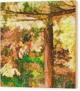 Bright Colored Leaves On The Branches In The Autumn Forest Wood Print