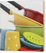 Bright Colorful Modern Kitchen Pot And Pans  Wood Print