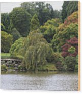 Bright Colors Of Autumn Trees On A Lake , Autumn Landscape. Wood Print