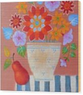 Bright Dahlias Wood Print