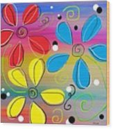 Bright Flowers Intertwined Wood Print