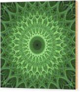 Bright Green Mandala Wood Print