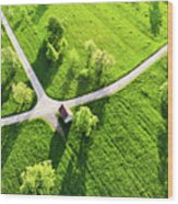 Bright Green Spring Meadow Aerial Photo Wood Print