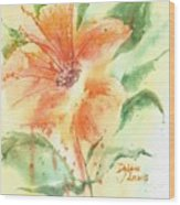 Bright Orange Flower Wood Print