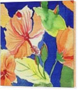 Bright Orange Flowers Wood Print