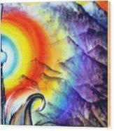 Bright Rainbow And Mountains. Cyborg's Land Wood Print
