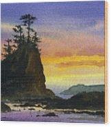Bright Seacoast Sunset Wood Print