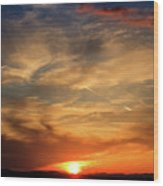 Bright Sundown In Mountains Wood Print